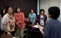 Keiko talking to Japanese missionaries and their partners